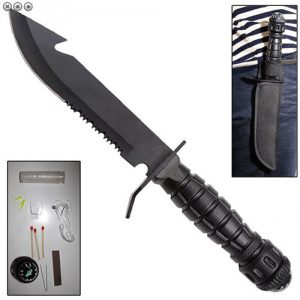 Military Fixed blade Serrated Steel SURVIVAL KIT Knife