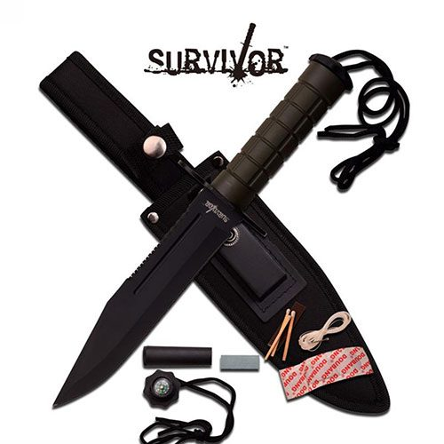 "12"" Black Green Military Combat Blade With Sheath + Kit Survival Knife"